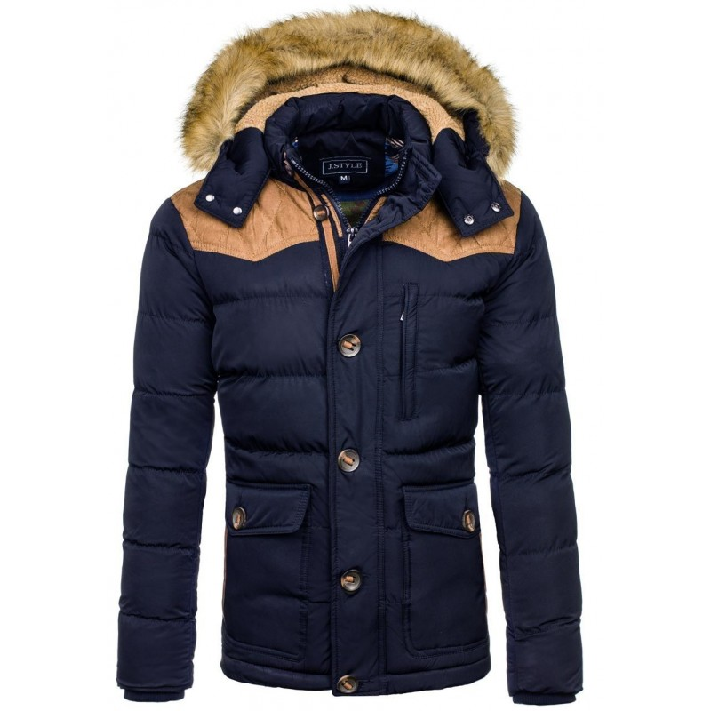 Zimné bundy pánske tmavomodrej farby s kožušinou - fashionday.eu 167631831b7