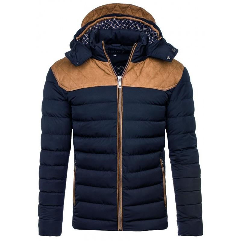 Predchádzajúci. Moderné zimné pánske bundy v tmavo modrej farbe s kapucňou 2cc7b1b64e4