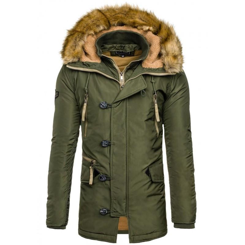 Pánska zimná vetrovka zelenej farby s gombíkmi - fashionday.eu 5467f607d30