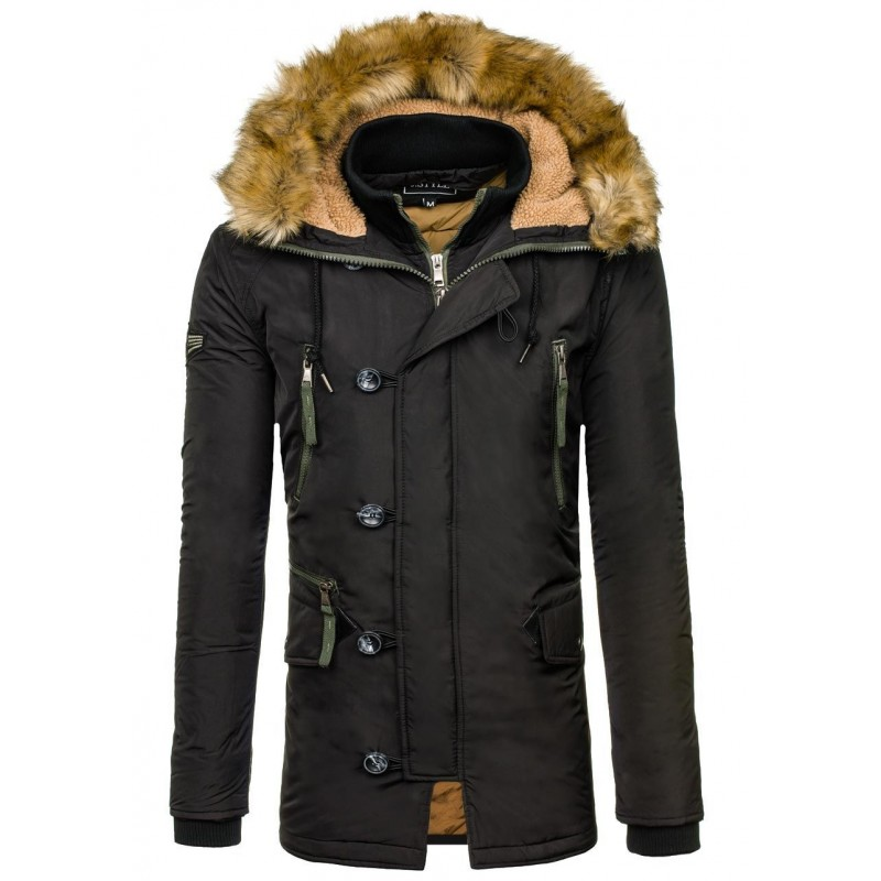 7ba91e79e20b Pánska zimná bunda zateplená bunda čiernej farby s kožušinou ...
