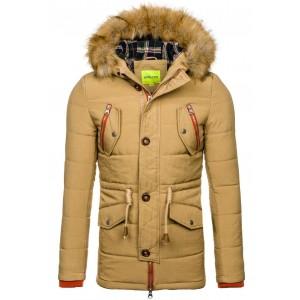 Zimné bundy pánske khaki farby so šnúrkom