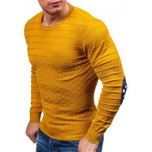 Žlté pánske svetre s bodkovaným nášivkami