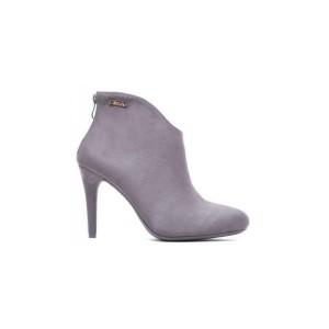Dámska sivá členková obuv na vysokom podpätku