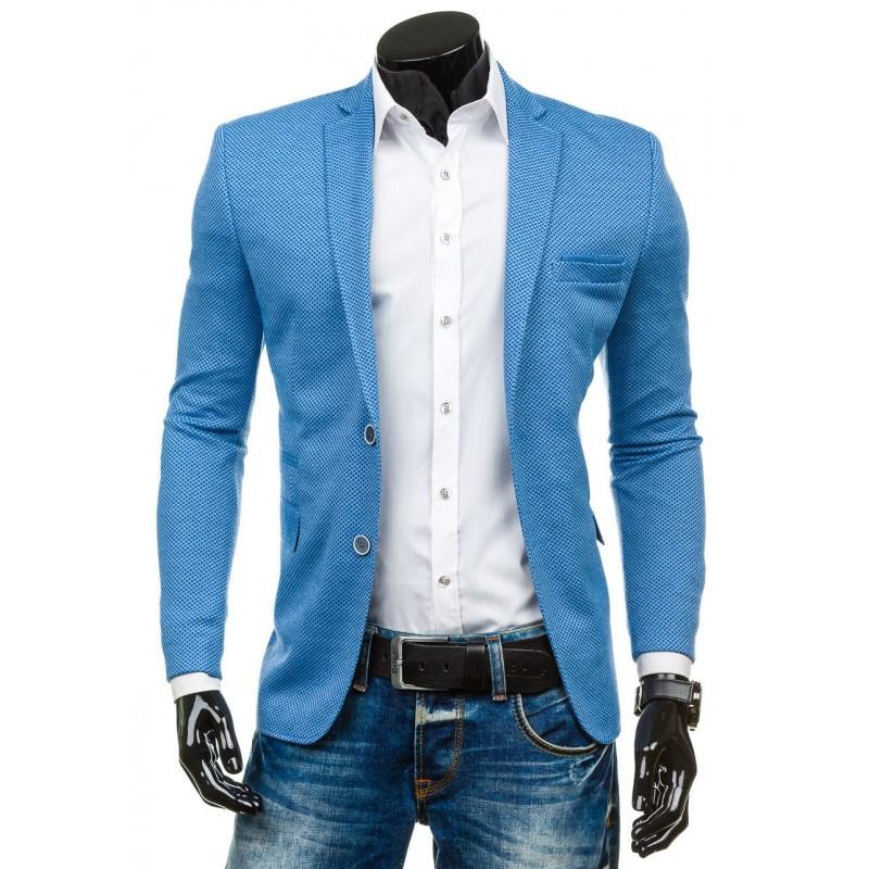 fb9497fe3651 Moderné modré pánske saká s motívom - fashionday.eu