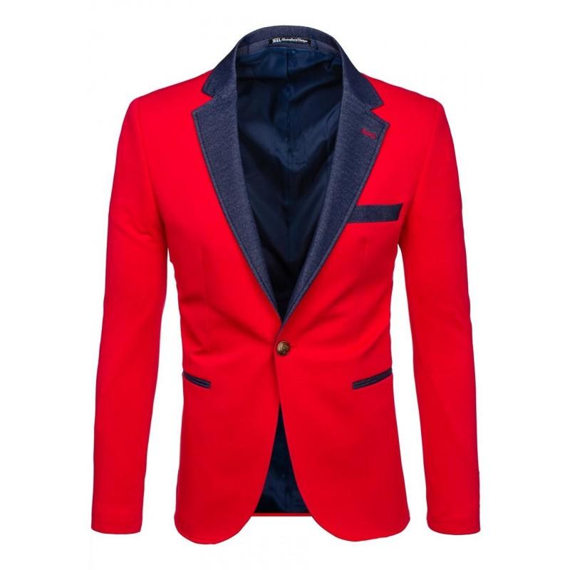 a901e6822b41 Moderné červené pánske saká s rifľovými lemami - fashionday.eu