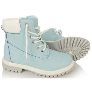 Dámska obuv worker v modrej farbe so šnúrkami