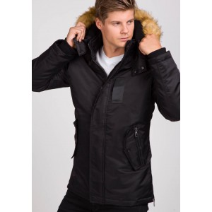 Čierne pánske zimné bundy s kapucňou