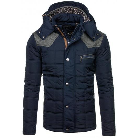 c68555035 Zimné bundy pánske tmavo modrej farby s kapucňou a nášivkami - fashionday.eu