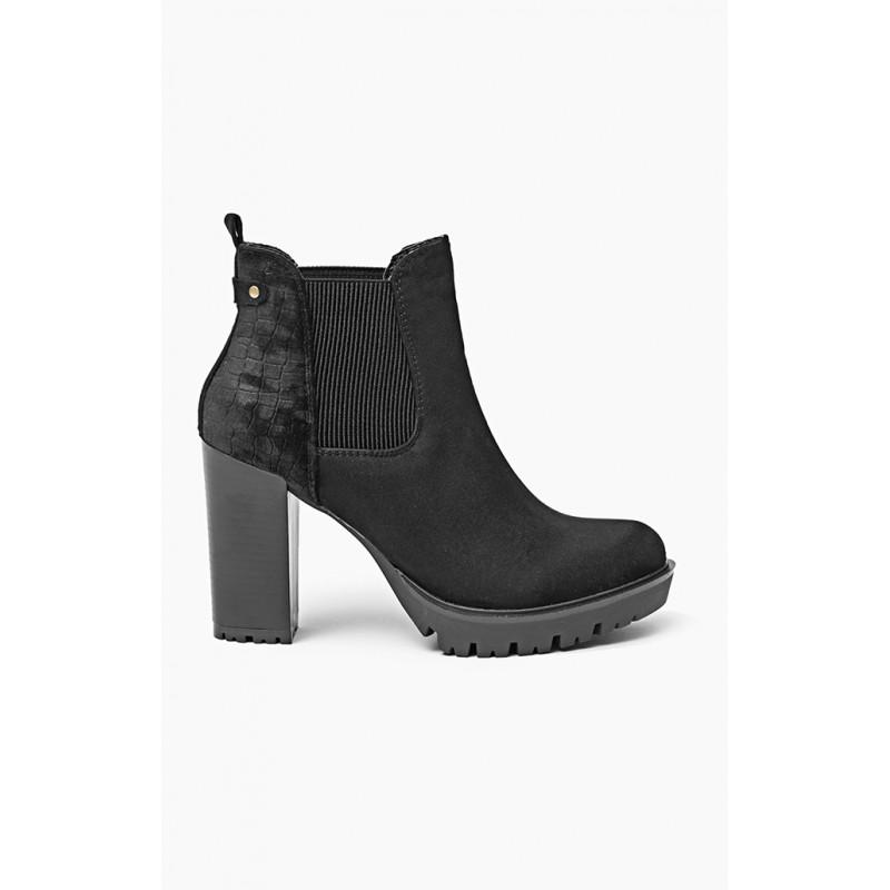 2c54d99b3bbb Predchádzajúci. Čierne dámske kotníkové topánky na vysokom podpätku ...