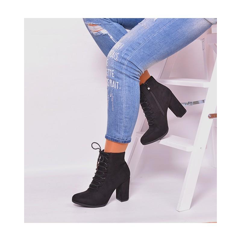 caedb02a1 Dámska čierna členková obuv na podpätku so šnúrkami - fashionday.eu