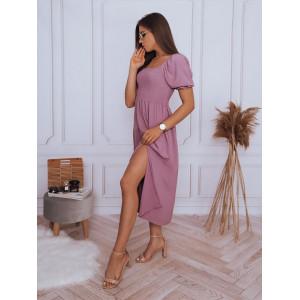 Krásne dámske svetlo fialové šaty s rozparkom
