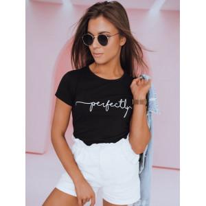 Kvalitné dámske čierne bavlnené tričko  s nápisom PERFECTLY