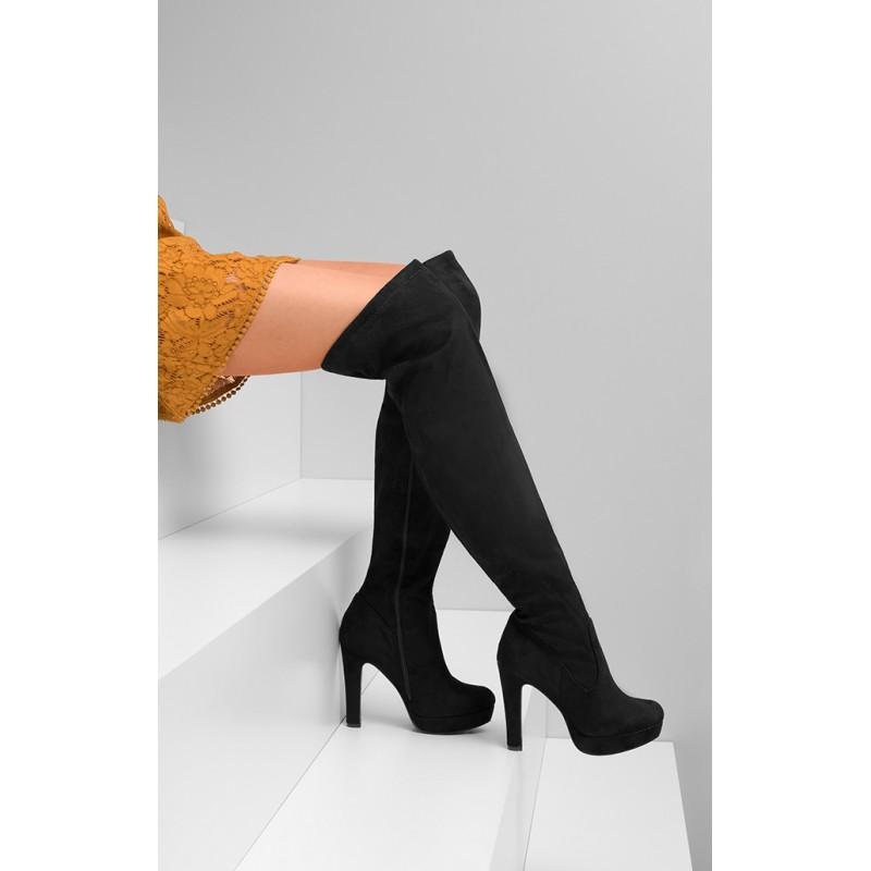 Predchádzajúci. Čierne dámske zimné topánky nad kolená s hrubým podpätkom  ... 24884b0db7f