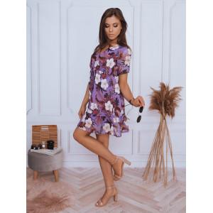 Krásne fialové dámske mini šaty voľného strihu