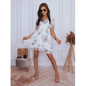 Biele dámske mini šaty voľného strihu