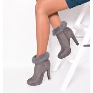 Zimné kotníkové topánky sivé na podpätku s kožušinou