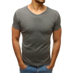 Bavlnené pánske tmavo sivé tričko s výstrihom do V