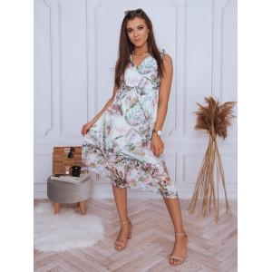 Letné dámske biele midi šaty s motívom exotických kvetov