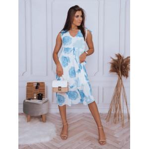 Dlhé dámske biele midi šaty s modrými ružami