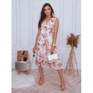 Krásne biele dámske midi šaty s kvetmi