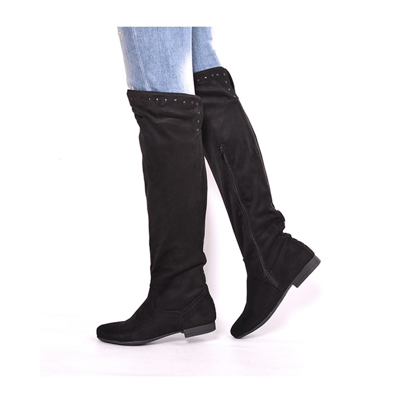 82e4b964e0e3f Dámske zateplené čižmy čierne s nízkym podpätkom - fashionday.eu
