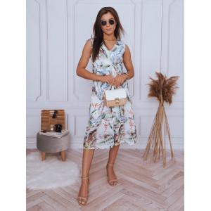 Trendové dámske biele šaty na leto s exotickými kvetmi