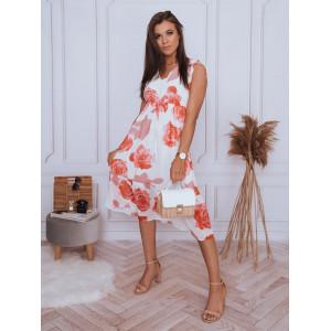 Romantické dámske biele midi šaty s potlačou kvetov