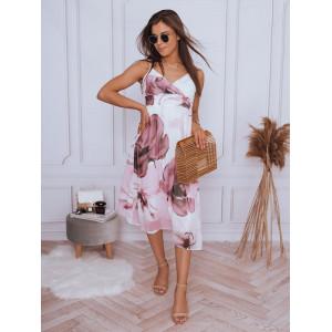Voľné dámske dlhé ružové šaty na ramienka