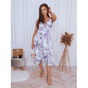 Trendy dámske dlhé šaty v módnej fialovej farbe