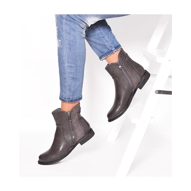 b09f91353587d Zimné dámske členkové topánky sivej farby so zipsom a nízkym ...