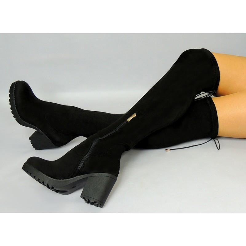 57711729b6bea Čierne dámske zimné čižmy s hrubým podpätkom nad kolená - fashionday.eu