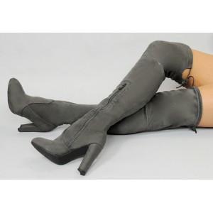Dámske zimné čižmy sivej farby nad kolená so šnúrkami
