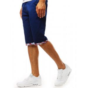 Štýlové pánske modré kraťasy s farebnou manžetou