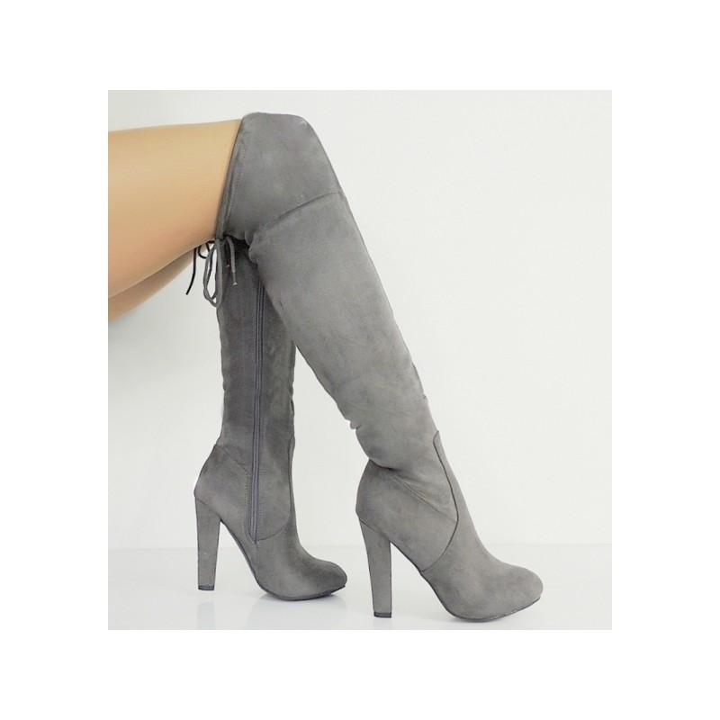ba289b0e8d Dámske zimné čižmy nad kolená v sivej farbe - fashionday.eu