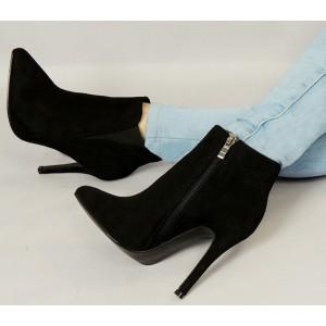 Dámska nízka zateplená obuv čiernej farby s podpätkom na zips