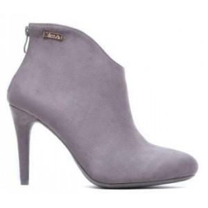 Zimná dámska členková obuv sivej farby so zipsom na zadnej strane