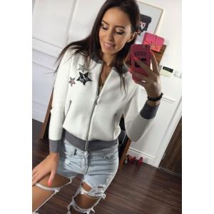 Moderná dámska jarná bunda bielej farby bez kapucne