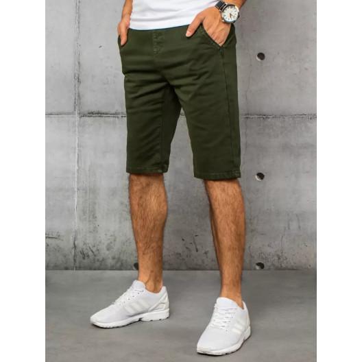 Moderné pánske zelené rifľové kraťasy po kolená