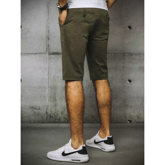Moderné pánske rifľové kraťasy v módnej khaki farbe