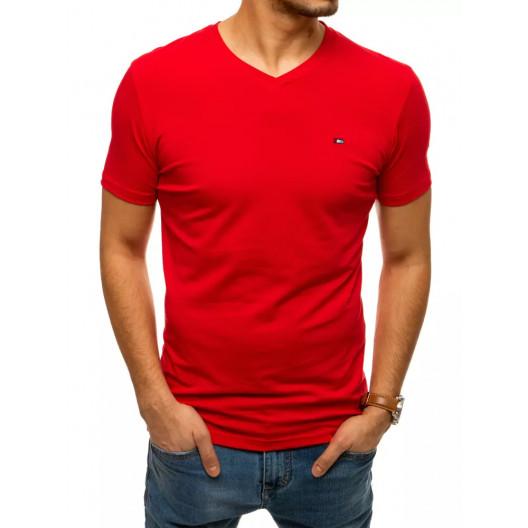 Červené pánske bavlnené tričko s krátkym rukávom