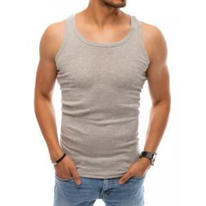 Pánske svetlo sivé bavlnené tričko bez rukávov