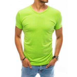 Krásne neónovo zelené pánske jednofarebné tričko