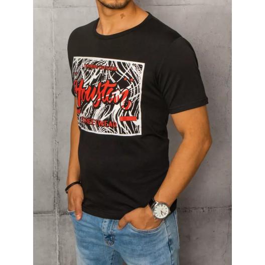 Moderné pánske čierne tričko s krátkym rukávom a potlačou
