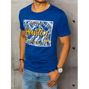 Modré pánske tričko s katkym rukávom a potlačou Houston