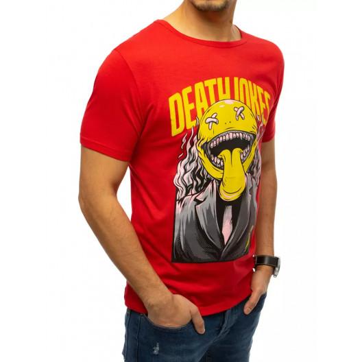 Štýlové pánske červené tričko s originálnou potlačou