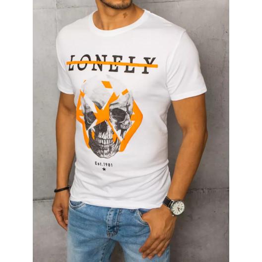 Pánske biele tričko s potlačou lebky