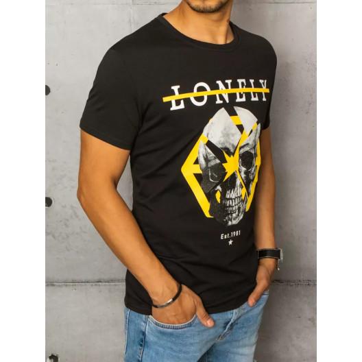 Čierne pánske tričko s krátky rukávom a potlačou lebky