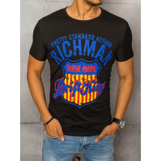 Kvalitné pánske čierne tričko s originálnym nápisom