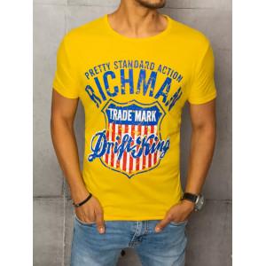 Žlté pánske tričko s trendy potlačou