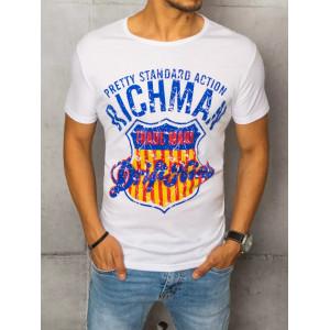 Kvalitné biele pánske tričko s potlačou